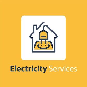 Ilustração de serviços de reparo e manutenção de eletricidade