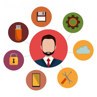 Ilustração de serviços de tecnologia