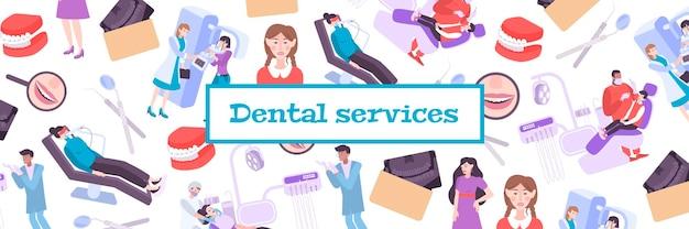 Ilustração de serviços odontológicos