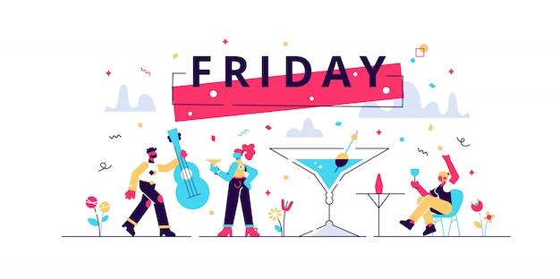 Ilustração de sexta-feira. apartamento minúsculo último trabalho semana dia pessoas conceito. celebração feliz feriado com bebidas alcoólicas, clima festivo e ambiente alegre. entretenimento de colegas de escritório bêbado.