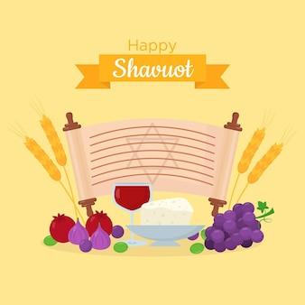 Ilustração de shavuot plana