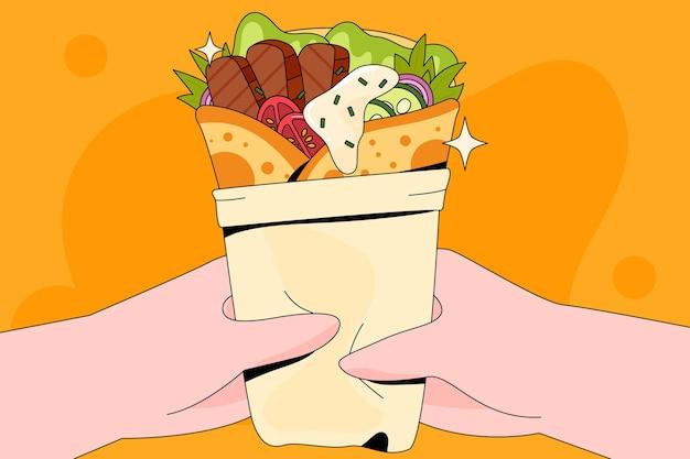 Ilustração de shawarma de design plano