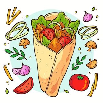 Ilustração de shawarma desenhada à mão