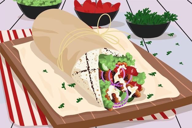 Ilustração de shawarma nutritiva de design plano