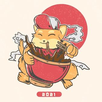 Ilustração de shiba inu comendo macarrão ramen