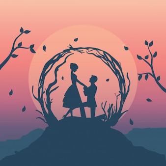 Ilustração de silhueta de casal romântico tem proposta de casamento no penhasco da floresta