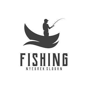 Ilustração de silhueta de design retro de pesca