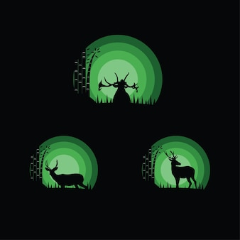 Ilustração de silhueta de veados