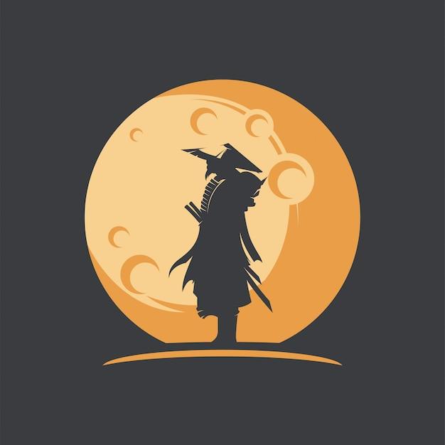 Ilustração de silhueta incrível samurai com lua