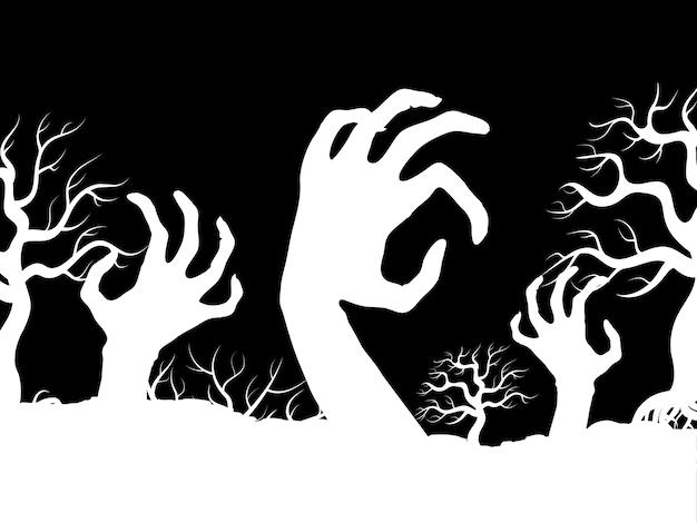 Ilustração de silhuetas de árvores e mãos de zumbi branco