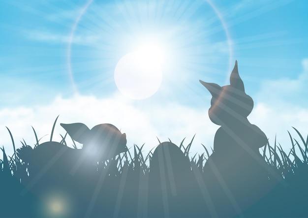 Ilustração de silhuetas de coelhos em um céu azul ensolarado