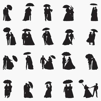 Ilustração de silhuetas de guarda-chuva recém-casamento