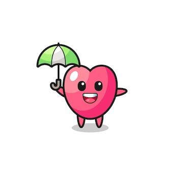 Ilustração de símbolo de coração fofo segurando um guarda-chuva, design de estilo fofo para camiseta, adesivo, elemento de logotipo