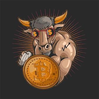 Ilustração de símbolo de negociação de touro de mineração criptográfica