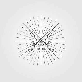 Ilustração de símbolo vintage espada hipster