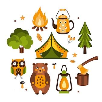 Ilustração de símbolos associados ao acampamento