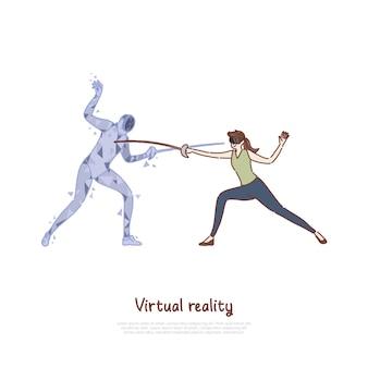 Ilustração de simulação de jogo de espada