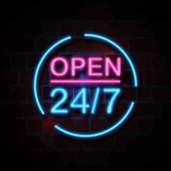 Ilustração de sinal aberto estilo neon 24/7