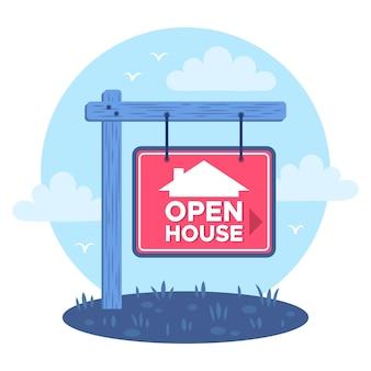 Ilustração de sinal de casa aberta