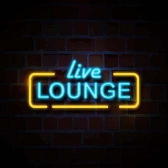 Ilustração de sinal de estilo de néon de lounge ao vivo