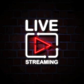 Ilustração de sinal de estilo de néon de streaming ao vivo