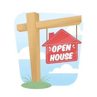 Ilustração de sinal de madeira casa aberta