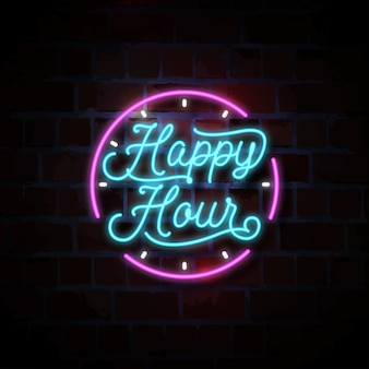 Ilustração de sinal de néon de happy-hour