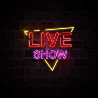Ilustração de sinal de néon de show ao vivo