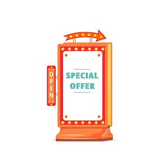 Ilustração de sinal de placa de anúncio de oferta especial
