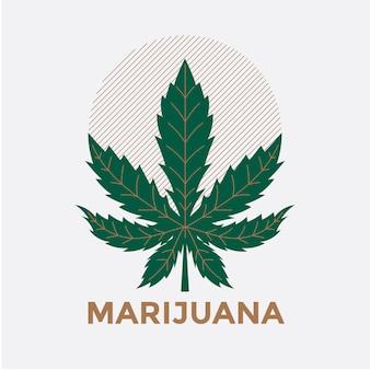 Ilustração de sinal verde folha de cannabis