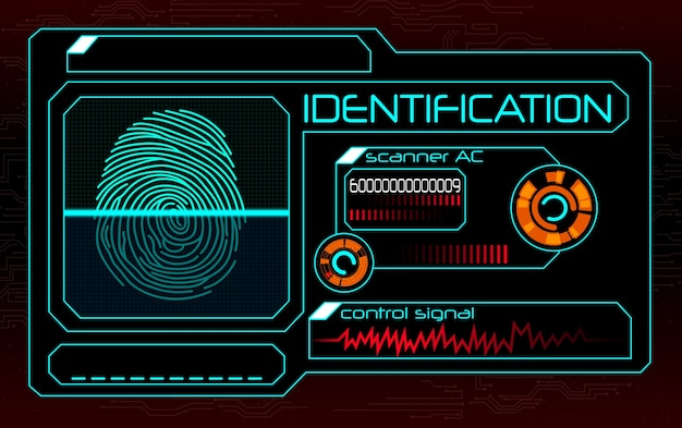 Ilustração de sistema de identificação de scanner de impressão digital