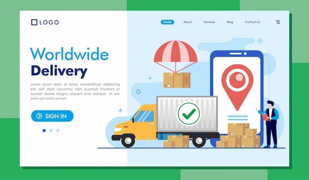 Ilustração de site de página de destino de entrega mundial