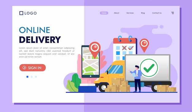 Ilustração de site de página de destino de entrega on-line