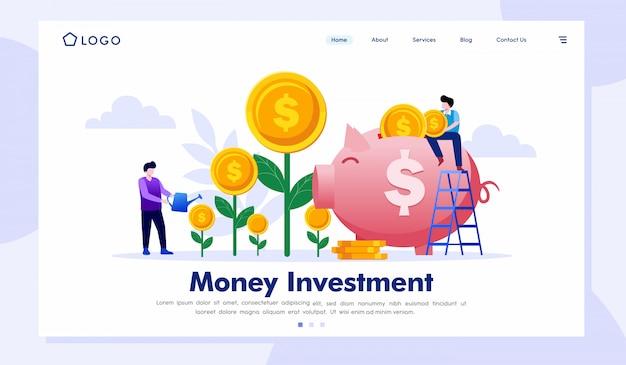 Ilustração de site de página de destino de investimento de dinheiro