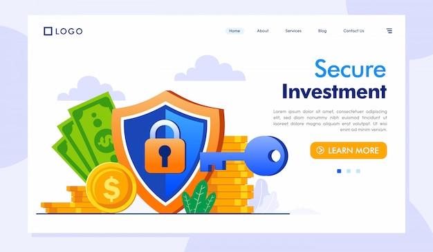 Ilustração de site de página de destino de investimento seguro