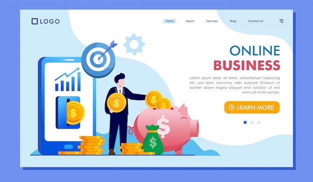 Ilustração de site de página de destino de negócios on-line