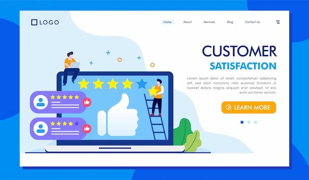 Ilustração de site de página de destino de satisfação do cliente