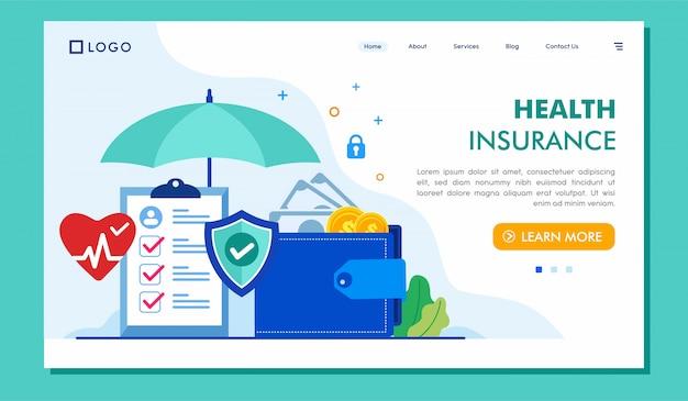 Ilustração de site de página de destino de seguro de saúde