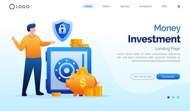 Ilustração de site de página inicial de investimento de dinheiro