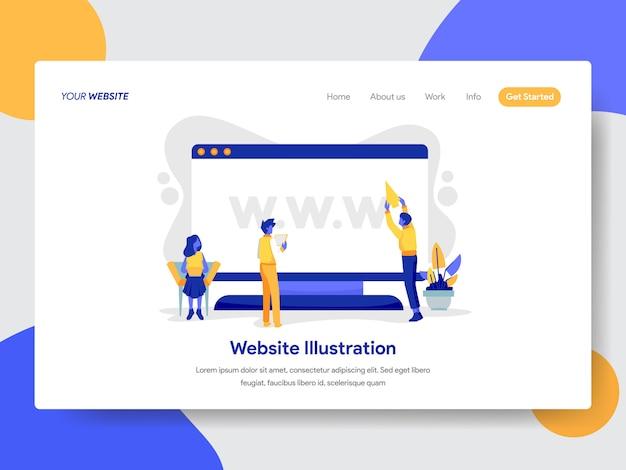 Ilustração de site e área de trabalho para a página da web