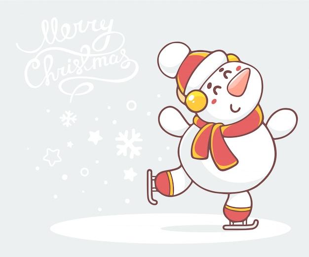 Ilustração de skate branco boneco de neve com lenço vermelho