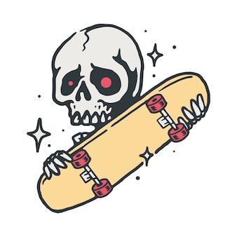 Ilustração de skate de caveira