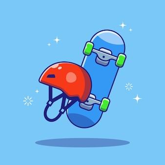 Ilustração de skate e capacete de proteção