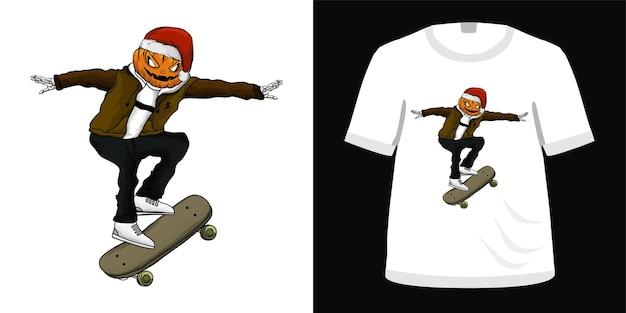 Ilustração de skate para design de camiseta