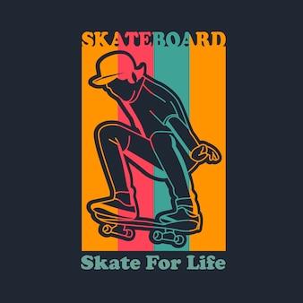 Ilustração de skate vintage