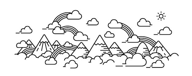 Ilustração de skyscape nublado e arco-íris.