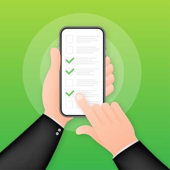 Ilustração de smartphone com lista de verificação verde