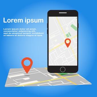 Ilustração de smartphone com o aplicativo de navegação na tela.