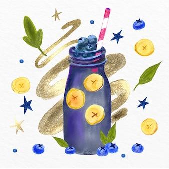 Ilustração de smoothies de aquarela pintados à mão em vidro do liquidificador
