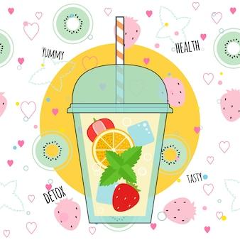 Ilustração de smoothies de desintoxicação